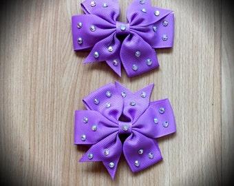 Pair of Purple Rhinestone Hair Bows