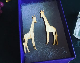 Wooden Giraffe Earrings