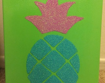 Pineapple Glitter Canvas