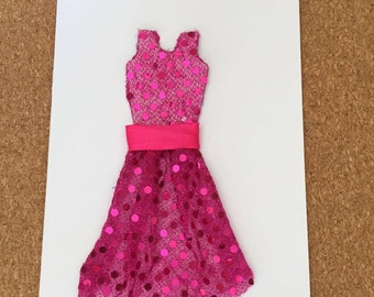 blank card with pink net dress