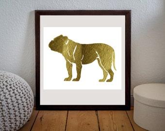 Printable File,Golden Foil Print,Bulldog Print,Golden Bulldog,Digital Art,Nursery Print,Home Decor, Instant Download,Poster Art
