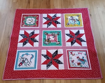 Western Theme Lap Quilt/Vintage Look Baby Quilt/Unique Baby or Crib Quilt/ Handmade Quilt/Crib or Throw size Hanky Quilt/Affordable Quilt