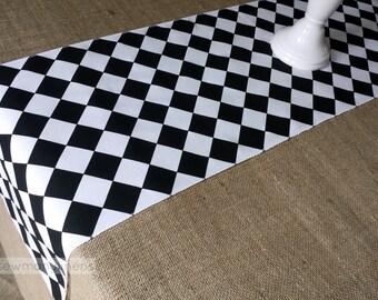 Black and White Diamond Table Runner Harlequin Check Runner Table Centerpiece Dining Home Decor Black Table Linens