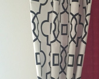 Black and White Curtains Modern Quatrefoil Curtain Panels Moroccan Lattice Window Treatments Home Decor Drapery Black Drapes
