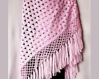 Шаль лилового цвета шаль крючком вязаная шаль Shawl pink shawl crochet shawl