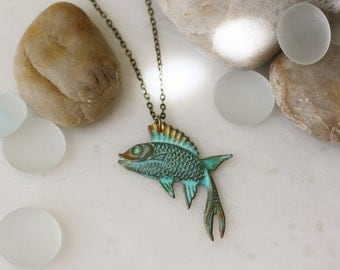 fish necklace, betta fish, siamese fighting fish, verdigris fish necklace, brass fish necklace, brass necklace, long pendant necklace