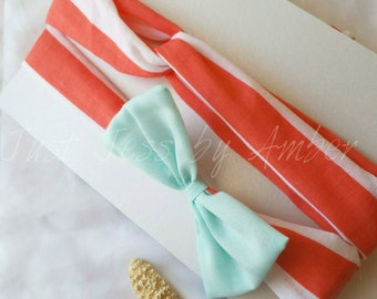 Seas the Day- Coral mother daughter headband set
