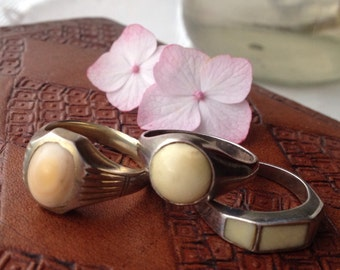 Set of three | Coral Sterling Silver Stacking Ring Set