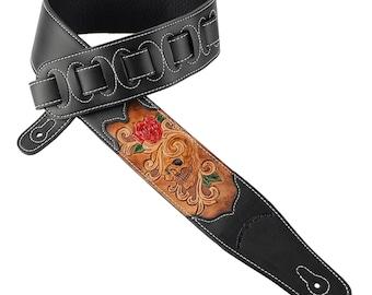 Black Leather Guitar Strap Hand Tooled Grateful Skull & Red Rose CVG-12