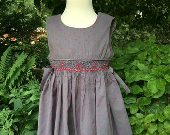 Gray smocked cherry dress, wrap girl's dress with bows on the sides