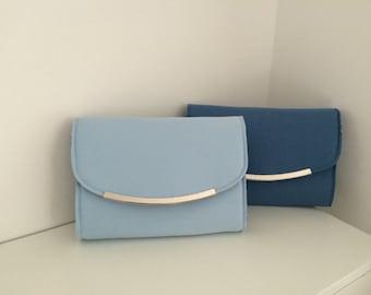 Sky blue clutch bag