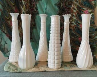 Set of 6 Vintage Milk Glass Vases, Wedding decor