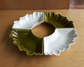 Vintage California Pottery USA L.58 oven parts Appetizer or Relish Dish White and Olive Green / 4 platters white and olive