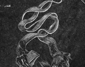 Last hug - Original woodcut print