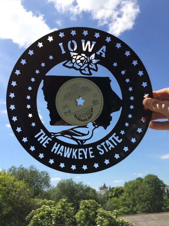 Iowa hawkeyes vinyl record wall art home decor iowa state for Iowa hawkeye decor