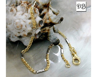 Gold Chain Bracelet, Mariner Theme Design, Made with 9K Gold and Rhodium Plated