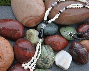 Pearls and Obsidian Necklace