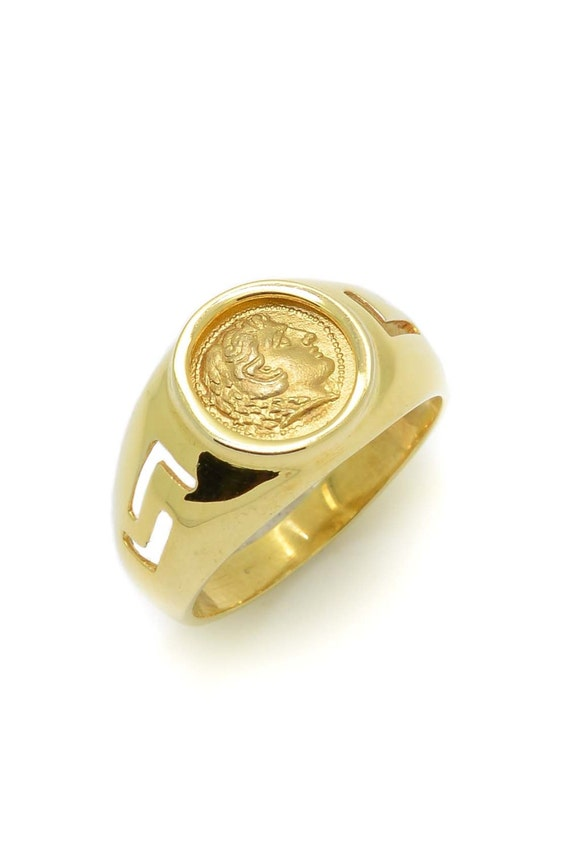 Alexander The Great Gold Ring Ancient Greek Coin Ring 14K