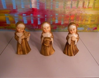 3 Miniature Nuns Collectible Figurines