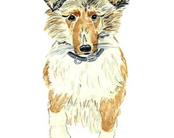 Animal print, Dog collie  Print. Collie Dog  lilly Watercolor print