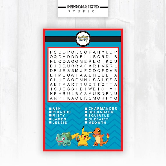 Pokemon Word Seach Party Games Instant Download 300 Dpi