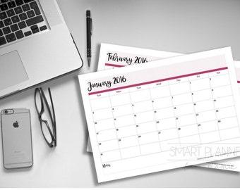 Printable 2016 Calendar. A4 Size. Instant download. PDF format. High resolution 300 dpi.