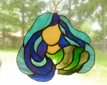 Blue Water Goddess Stained Glass Piece