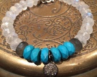 Moonstone turquoise and diamond bracelet