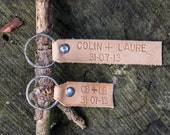 Couples Keychains/Leather Key Fobs/Key Chain Favors/Handstamped Keyring
