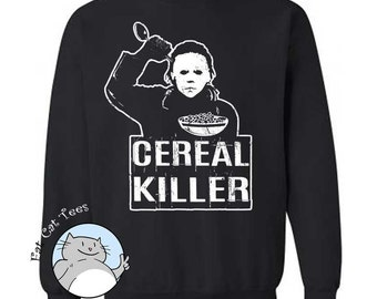 Cereal Killer Sweatshirt Funny Halloween Sweater Movie Parody Gifts Horror Film Sweatshirt Gifts For Him Spooky Gift Presents Funny Puns