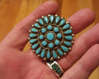 Zuni Turquoise and Sterling Silver Petit Point Sun Pin.