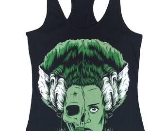 Bride of Frankenstein Women Black Tank Top