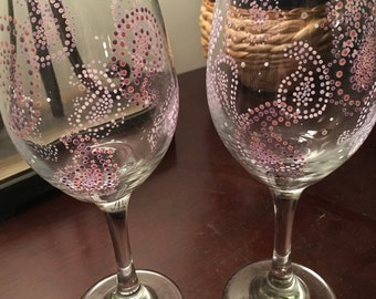 Pastel paisley wine glasses