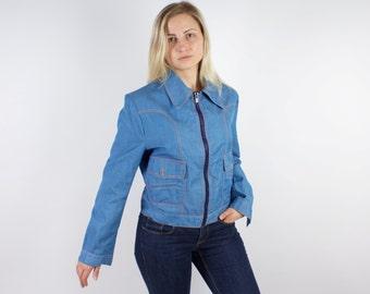 Denim Jacket Women Vintage Sport Windbreaker Zipper Jacket Mint Quality
