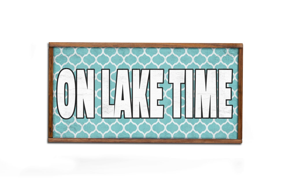 Lake Signs Wall Decor : On lake time wooden sign rustic wall art handmade house