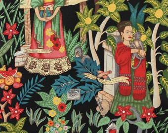 Frida Kahlo Fabric   Upholstery   Alexander Henry Fabric   Folklorico   Fridas Garden Heavy Oxford Cotton Black   Mexican   Frida Material