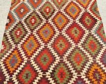 Colorful Vintage Rug, 240x156 cm 7.9x5.1 feet, Bohemian kilim rug, carpet, Anatolian Ethnic kilim, Area Rug,handwoven kilim, floor kilim rug