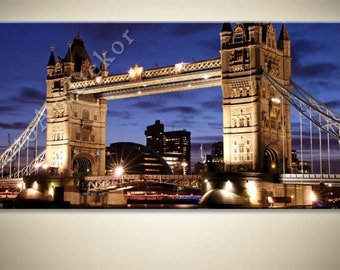 CANVAS City at Night Color Panoramic Print - Panorama Photo City Pictures wall decor Tower Bridge