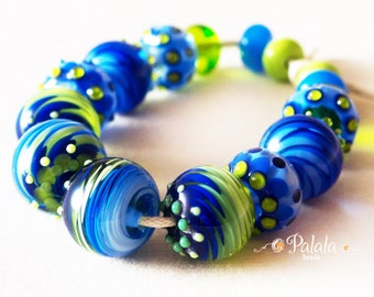 Set of blue and green lampwork beads