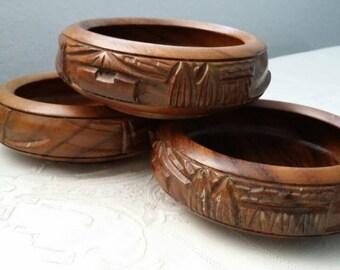 Vintage Hawaiian Carved Teakwood Salad/Snack Bowls