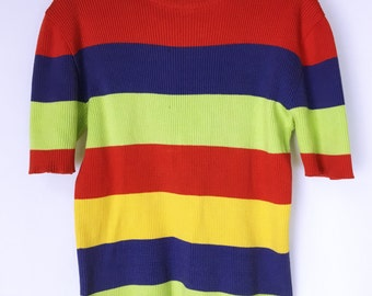 CELINE 80's-90's vintage multi border summer knit
