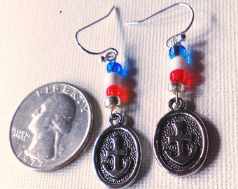 Red White and Blue nautical earrings