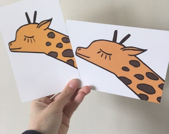 "Giraffe Illustration 6x4"" Print"