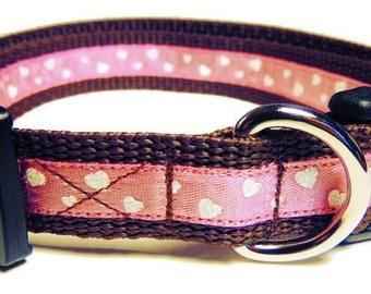 Medium Pink Glittery Hearts Dog Collar
