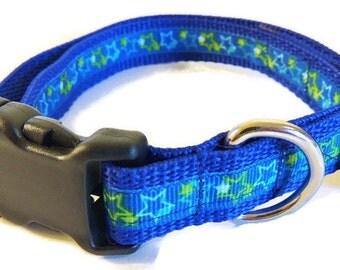Small Blue/Green Stars Dog Collar