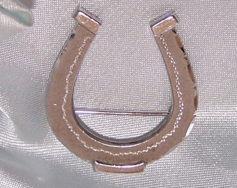 Vintage Sterling Silver Lucky Horse Shoe Brooch