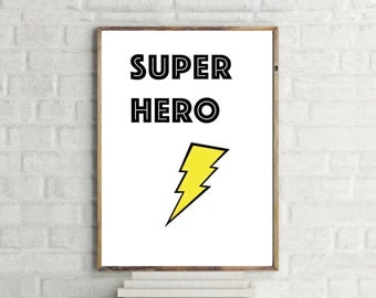 Super Hero Kids Print // Kid's Wall Art // Kids Minimalist Poster // Super Hero // Childrens Poster // Kids Typography // Kids Room