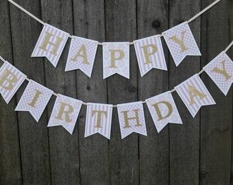 Pink Gold Birthday Banner / Happy Birthday Banner / Pink Gold Birthday Sign / Pink Gold Party Decor / Pink Gold First Birthday / Party Sign
