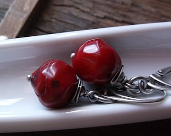 IN RED, coral earrings, red coral, sterling silver, red earrings