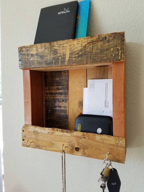 Reclaimed Pallet Shelf - Entryway, doorway, anywhere wall-mounted recycled wood shelves and wall hooks